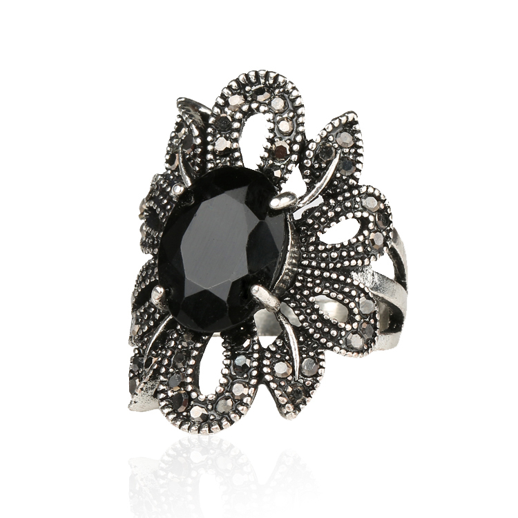 Punk Rock Ring Jewelry Silver Restoring Ancient Ways Black Agate Stones Hollow Out Female Personality Hipster Index Finger Rings(China (Mainland))