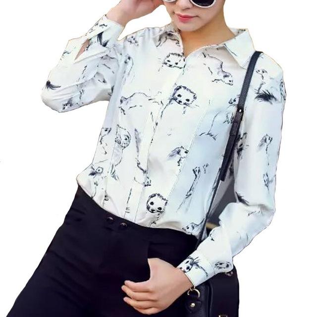 Женщины моды симпатичные животные печати блузки Лень отложным воротником рубашки ...