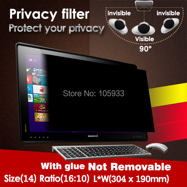 3m privacy filter 14.0 16:10 304mm*190mm Anti-spy Screen Protector Screen Guard WITH Glue For PC Computer Laptop ATM LCD 1pc/lot(China (Mainland))