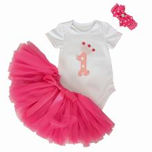 3Pcs Set Baby Girl Crown Tutu Dress Infant 1st Birthday Party Outfit Romper Bubble Skirt Headband Bebe Newborns Tulle Vestidos
