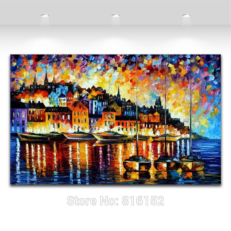 Buy Harbor Of Corsica Palette Knife Painting 100% Hand-painted Lighting House Near By The River Canvas Painting for  Home Decor cheap