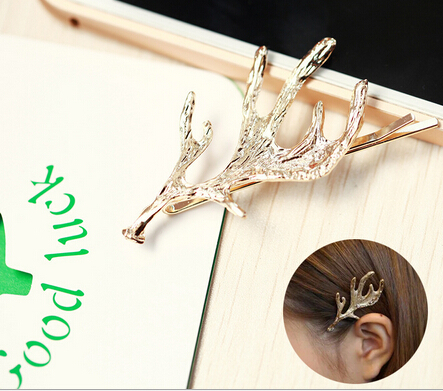 Free Shipping New Animal Elk Hair Barrettes Alloy Hair Clips Fashion Metal Hair Accessories(China (Mainland))
