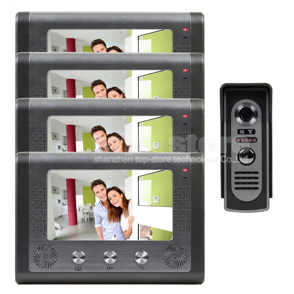7 inch Door Bell Wired Video Door Phone System Home Security Entry 2 Way Intercom IR Camera SY801M14(China (Mainland))