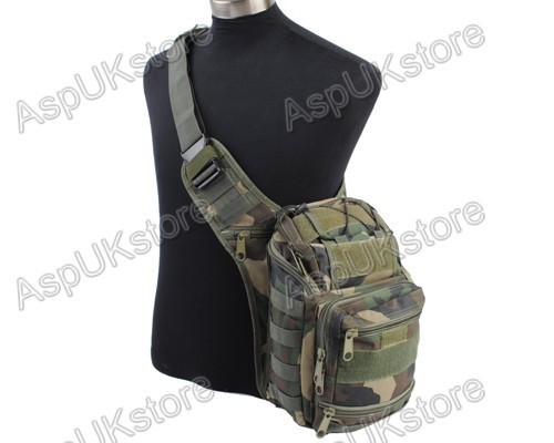 Airsoft Molle Tactical Shoulder Strap Bag Pouch Woodland free shipping