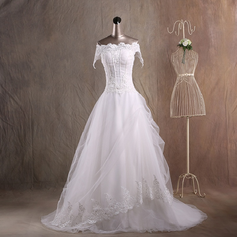 Boat Neck Wedding Dresses Bridal Gowns With Bow Made In China From