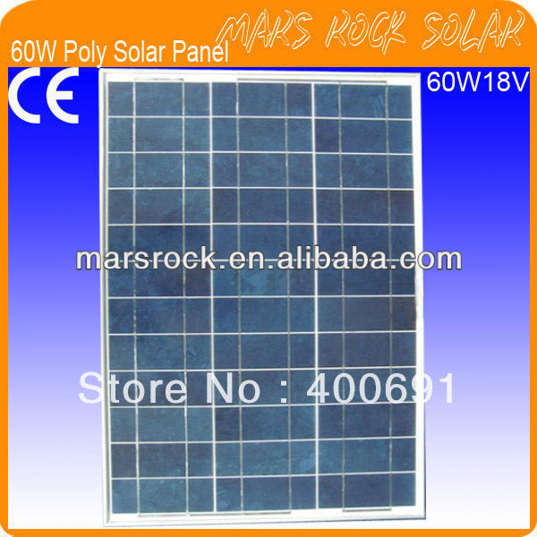 Фотография 60W 18V Polycrystalline Silicon Solar Panel Module with Special Technology, Nice Appearance, Fend Against Snowstorm, Waterproof