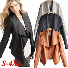 Womens Sexy PU Leather Jacket Biker Motorcycle Perfecto Zipper Sheepskin Thin Coat Slim Top Plus Size Autumn Fall Winter Outwear(China (Mainland))