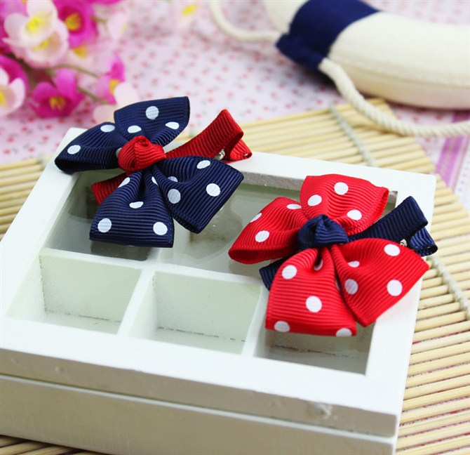 big bow dot children kids baby girls hair accessories clip hairpins barrettes headwear flower Retail Boutique wholesale JX-147(China (Mainland))