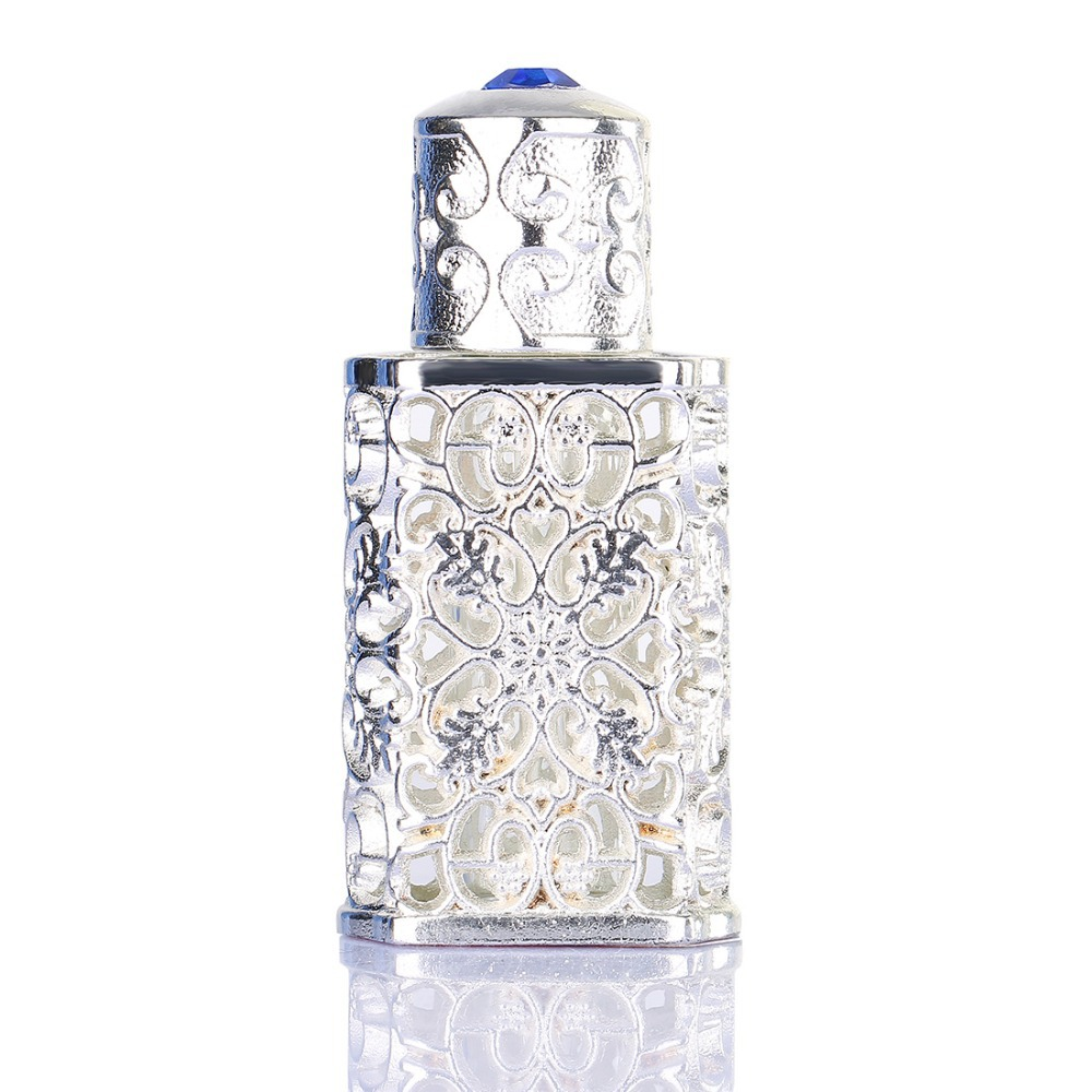 Silver Antiqued Style The Retro Hollow Flower Inlaid With Blue glass Empty Perfume Container Wedding decoration Perfume Bottle(China (Mainland))