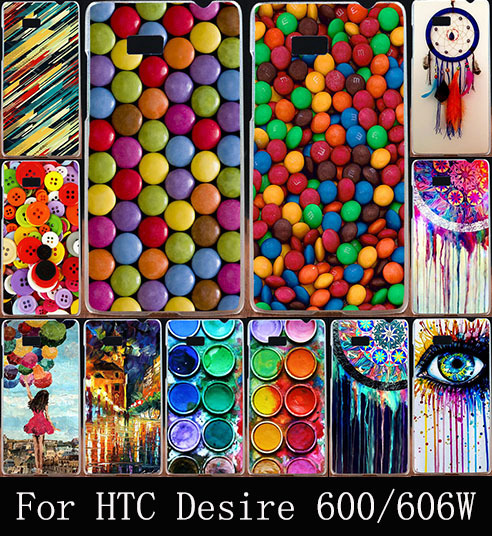 Hot Colorful Clothes Buttons Head Hard Plastic Cover Fashion Painted Case For HTC Desire 600 Dual SIM 606W Phone Bag Shell Cases(China (Mainland))