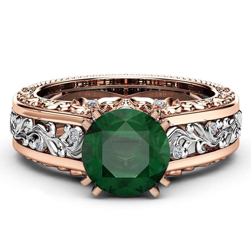 Fashion Hollow Plant Zircon Rose Gold Engagement Ring For Female Two ... b93399ec0eeb