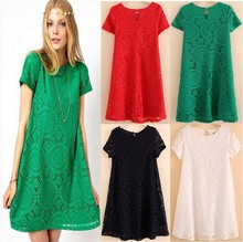 S/4Xl Womens Spring And Summer Women Round Neck Hollow Out Lace Dress Short Sleeves Large Size Dresses Vestidos Sexy Dress J650
