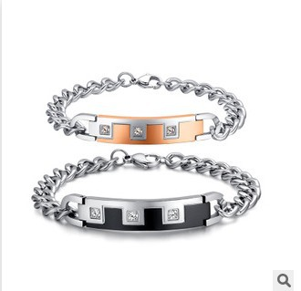 2015 Titanium steel AAA zircon couple bracelet CB-005  -  EEL fashion jewelry store store