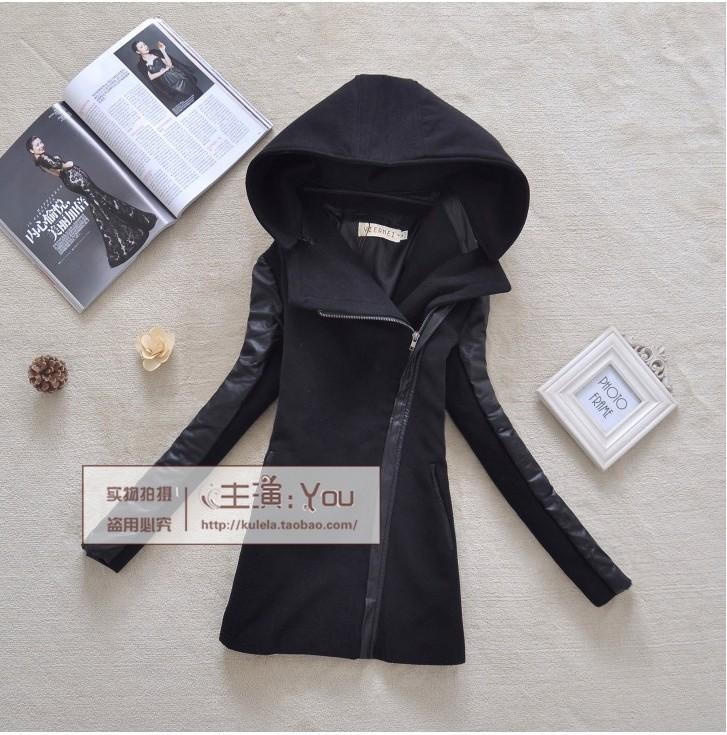 2013 female womens woolen coat jacket outerwear british style PU hooded slim pu leather pathwork zippered (China (Mainland))