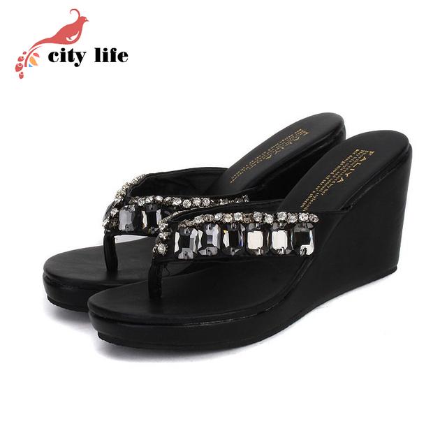 2016 Hot Sell Bohemian Sandal Woman Flip Flops, Black White Rhinestone Beach Wedges Shoes Discount