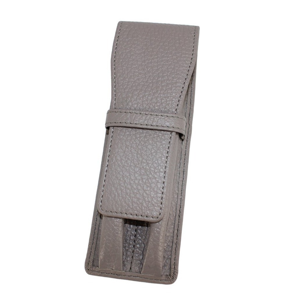 New CROCODILE Genuine Leather Pen Case for 2 Pens -Light Grey(China (Mainland))