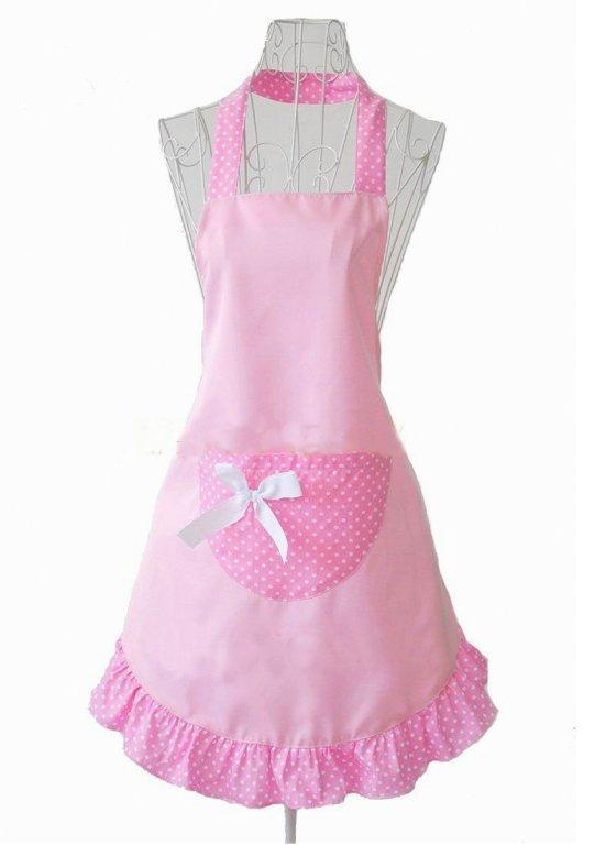 Ladies Pretty Princess Style pink Kitchen Apron(China (Mainland))