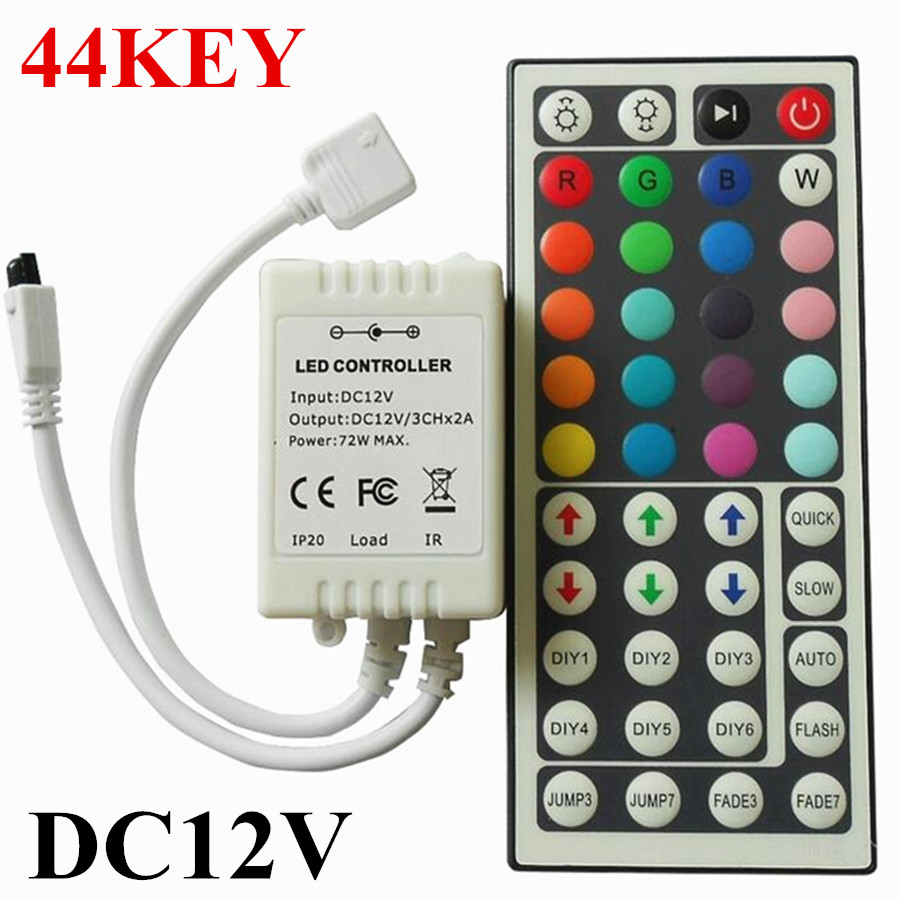 Led Controller 44 Keys LED IR RGB Controler LED Lights Controller IR Remote Dimmer DC12V 6A For RGB SMD 3528 5050 LED Strip(China (Mainland))