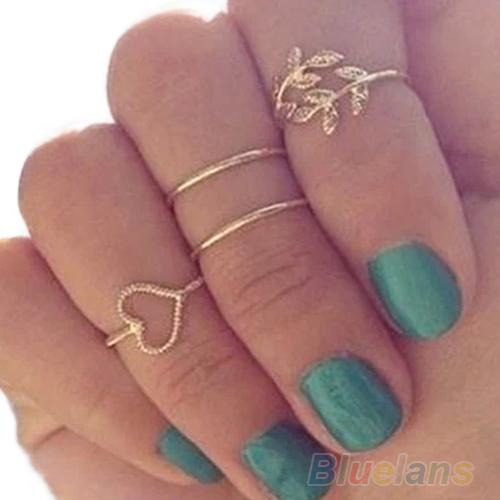 4PCS/Set Rings Urban Gold Plated Crystal Plain Cute Above Knuckle Ring Band Midi Ring 1NMZ(China (Mainland))