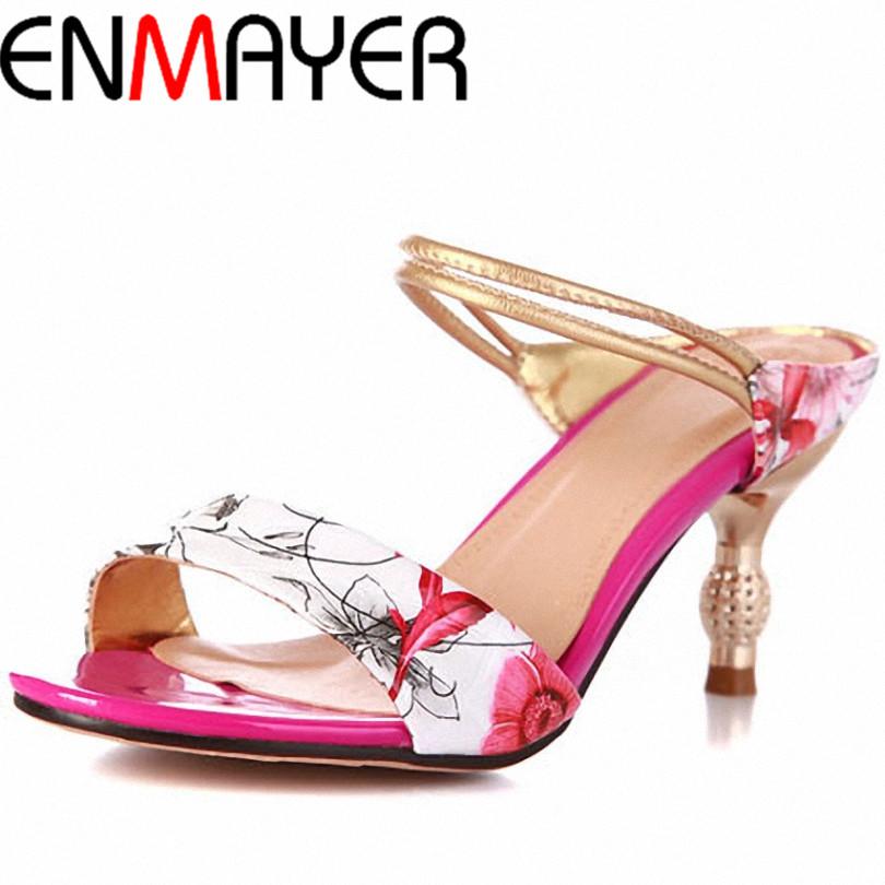 ENMAYER shoes women High Heels Flip Flops 2015 Classic Mary Janes Ankle Straps Peep Toe Less Platform Summer Shoes Sandals
