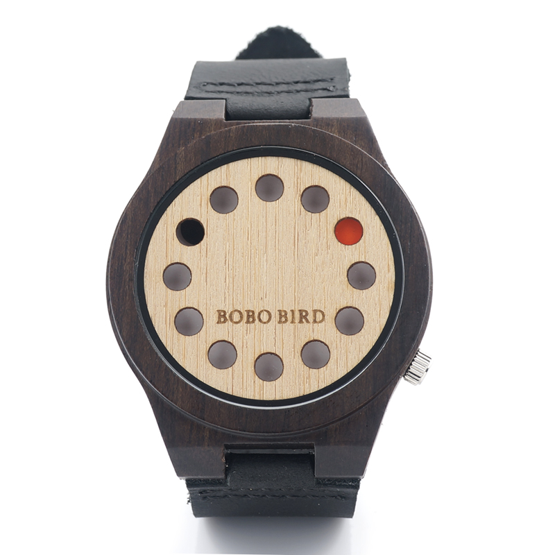 BOBO BIRD 12H05 Mens Watches Top Brand Luxury Black Sandal Bamboo Wooden 12 Holes Quartz Watches With White Real Leather Straps<br><br>Aliexpress