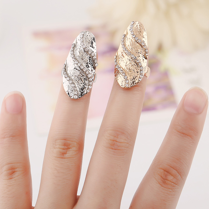New Arrival Fashion Bridal Jewelry Women/Girl's Gold Plated Crystal Wave Pattern Nail Rings 2 Colors Options Friend Gift(China (Mainland))