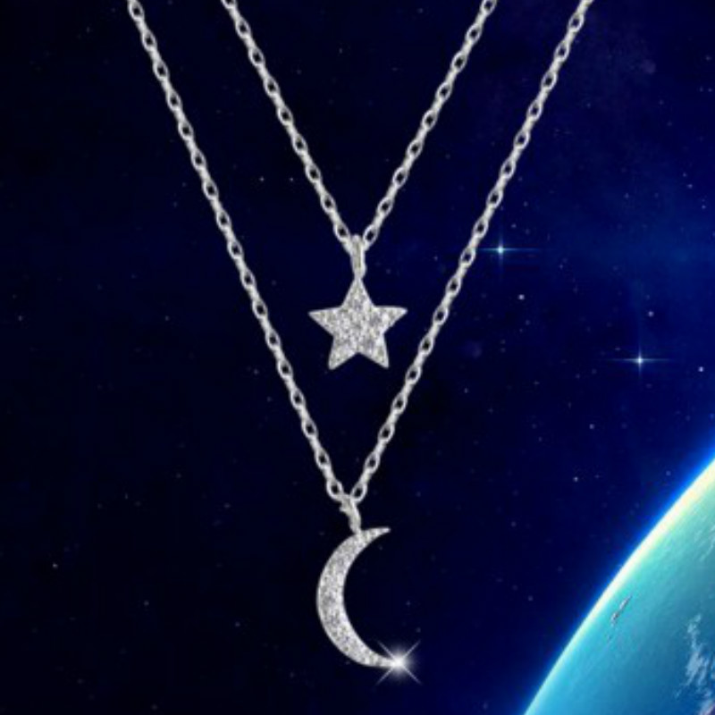 Star Moon Chokers Double Chain Necklaces 925 Sterling Silver Star Necklace & Pendants Jewelry Collar Colar N160802(China (Mainland))