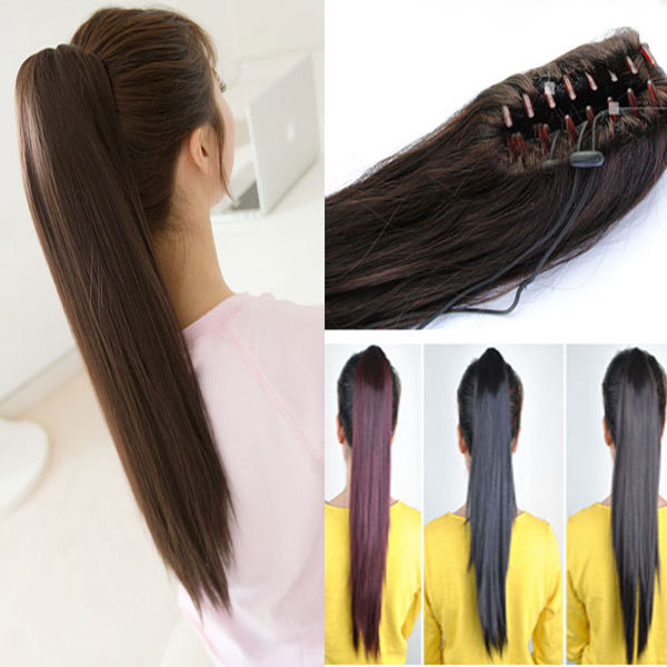 100% Real Qaulity Pony tail Hair Piece Clip in Pony tail Hair Extension US Local