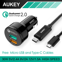 AUKEY Quick Charge 2.0 Universal Dual USB Fast Car Charger Adapter For Mobile Phones iPhone Samsung Tablet PC,With Type-C Cable(China (Mainland))