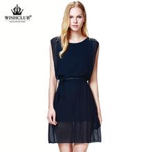 WiSHClUB 2015 New 3 Colors Women Summer Dresses Casual Clothes Sleeveless Chiffon Beading Vestidos with Free Belt