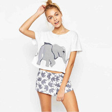 Cropped Tops for Women 2016 Summer Casual Loose Elephants Print Short Sleeve Cotton T-Shirt Top Crop White Cropped Feminino 2138
