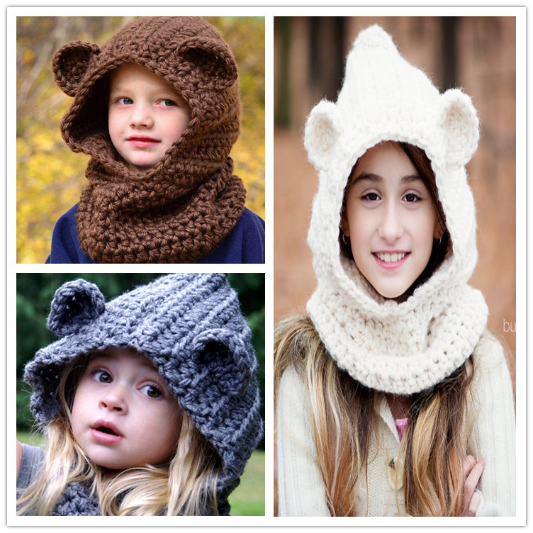 New Children's bear hat hooded scarf bear cowl children's hooded cowl children's hooded scarf Girl Winter hat christmas gift(China (Mainland))