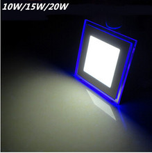 10W/15W/20W LED Ultra-thin Panel light, Downlight, square Shape with White/warm white +blue Color Light for kitchen bathroom(China (Mainland))