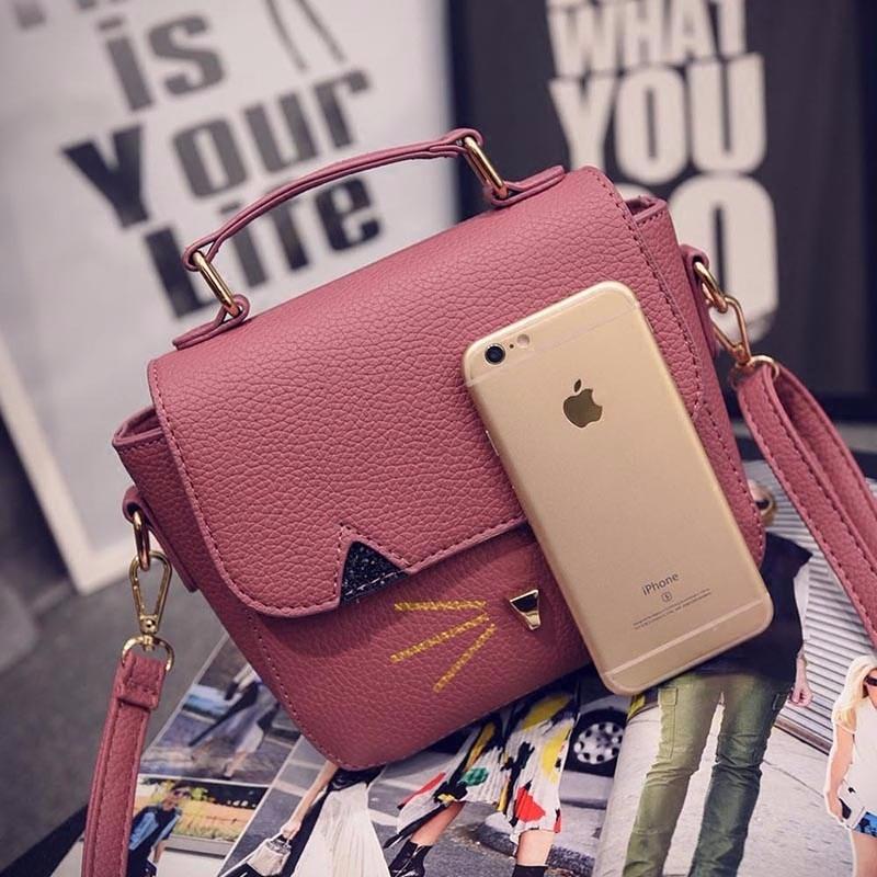 Fashion Cat Small Square Bag Japan And Korean Style Mini Hand Bag Luxury Ladies Stylish PU Leather Shoulder Bag Handbag