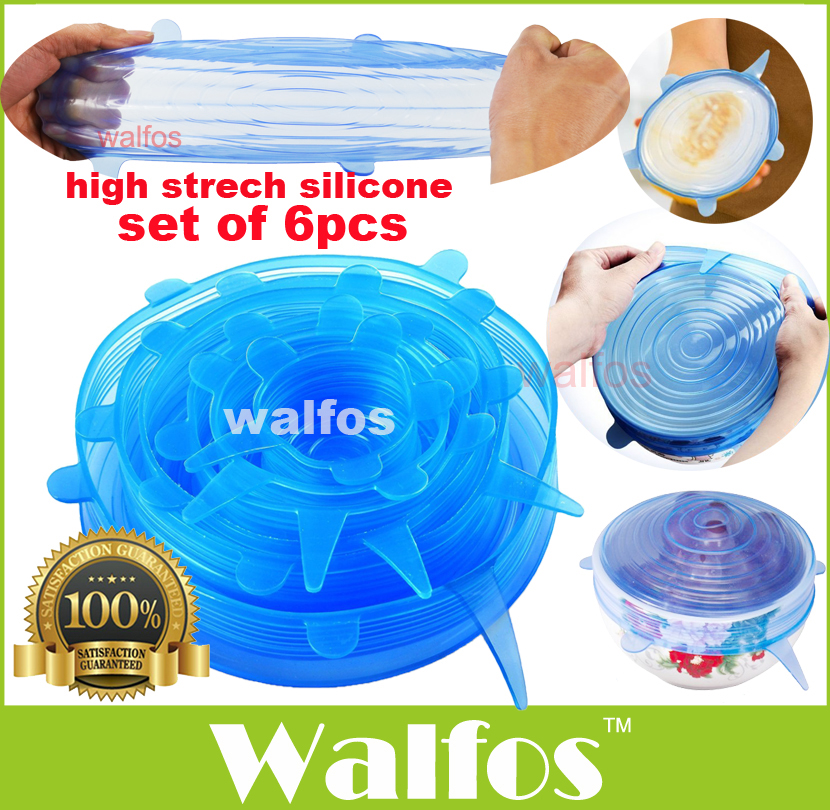 WALFOS universal Silicone saran food wrap Lid-bowl pot lid-silicon stretch lids silicone cover pan Kitchen Vacuum Lid Sealer(China (Mainland))