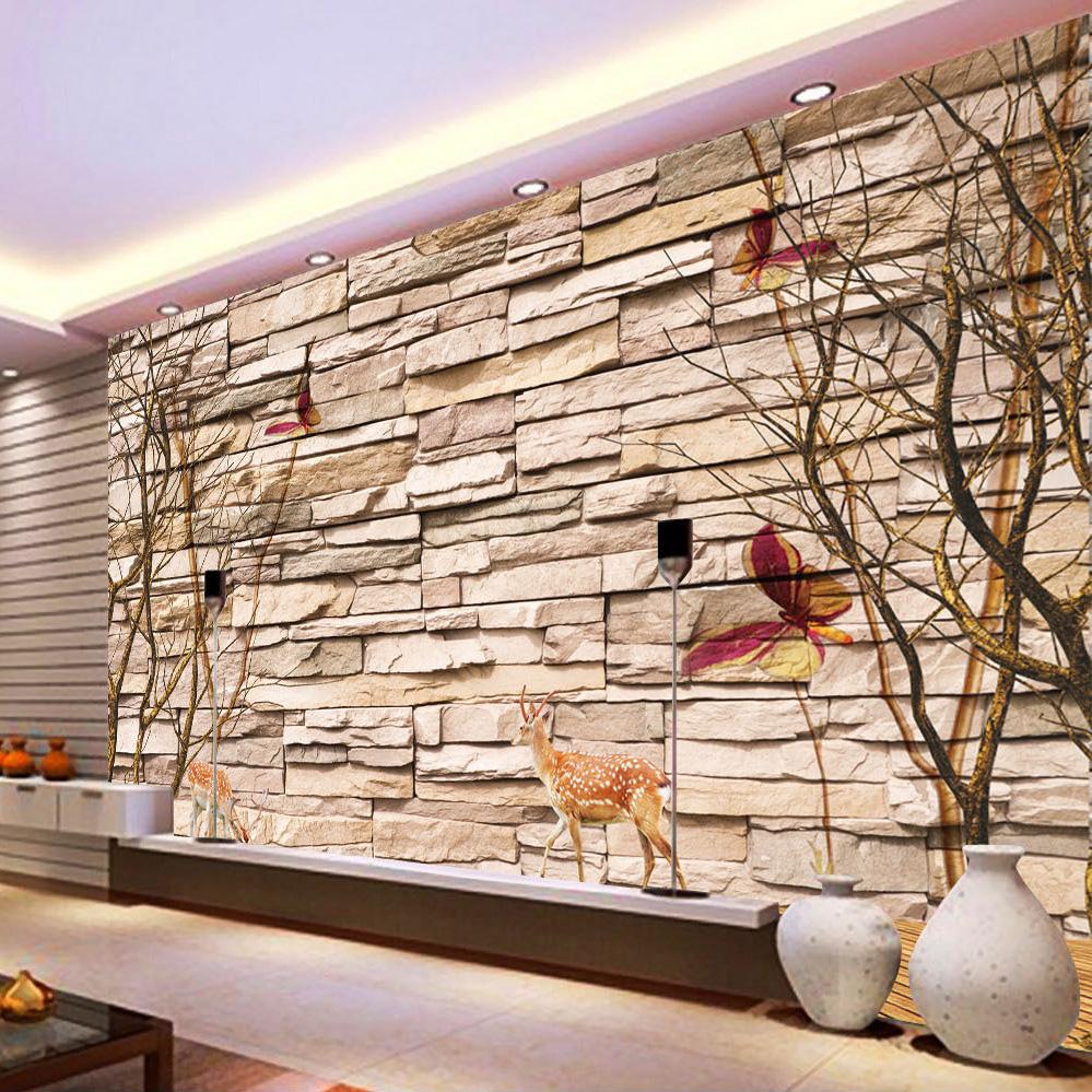 Promoci n de papel tapiz de pared de piedra compra papel for Papel pintado para paredes 3d
