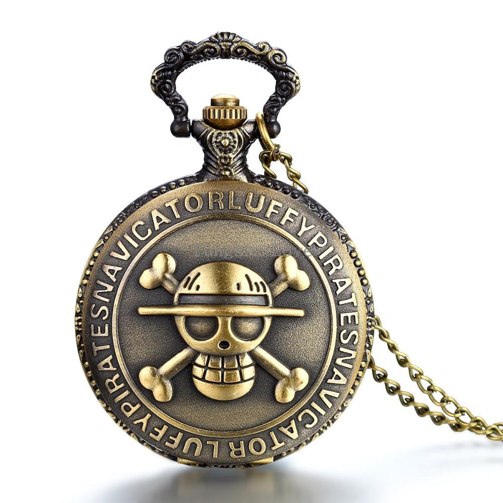Antique Bronze Anime Skull One Piece Luffy Design Quartz Pocket Watch Pendant with 80CM Chain 27mm & 46mm Diameter(China (Mainland))