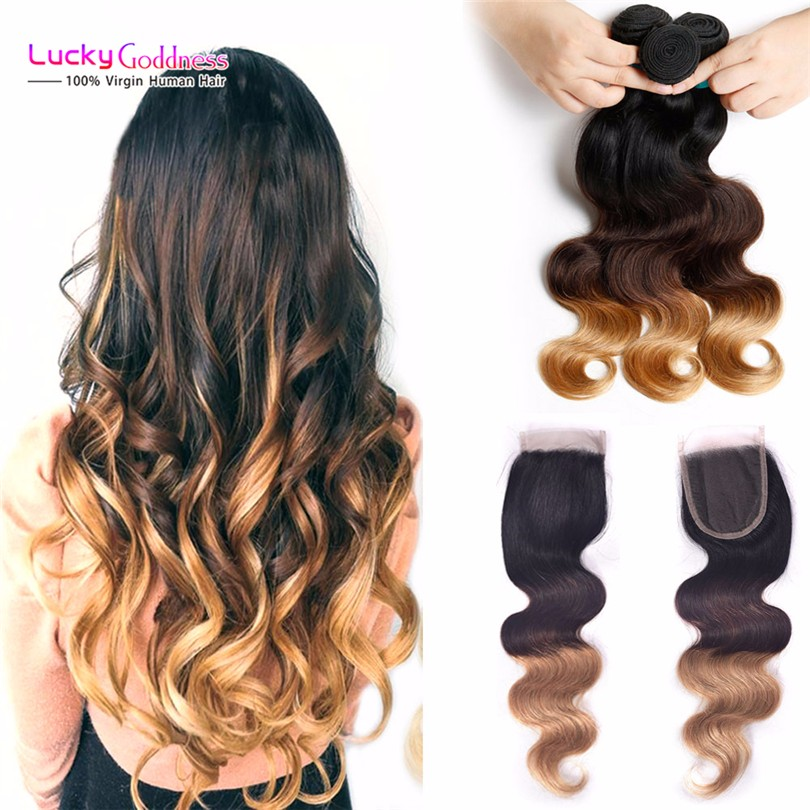 Ombre Brazilian virgin hair Body Wave Human Hair With Closure  Lace Closure With Bundles Blonde Ombre Human Hair Weave Closure