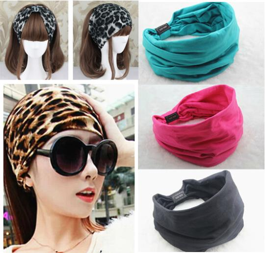 2015 New variety of wear method Cotton Elastic Sports Wide women Headbands for women hair accessories turban headband headwear(China (Mainland))