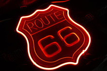 USA america Route 66 road neon sign lights vintage license plates wall art craft advertising signs light boxes sculpture light(China (Mainland))