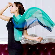 Free shipping Mulberry long silk scarf gradient  color scarf   Fashion Women's Scarf Hot Sale Silk Scarves Shawl Female