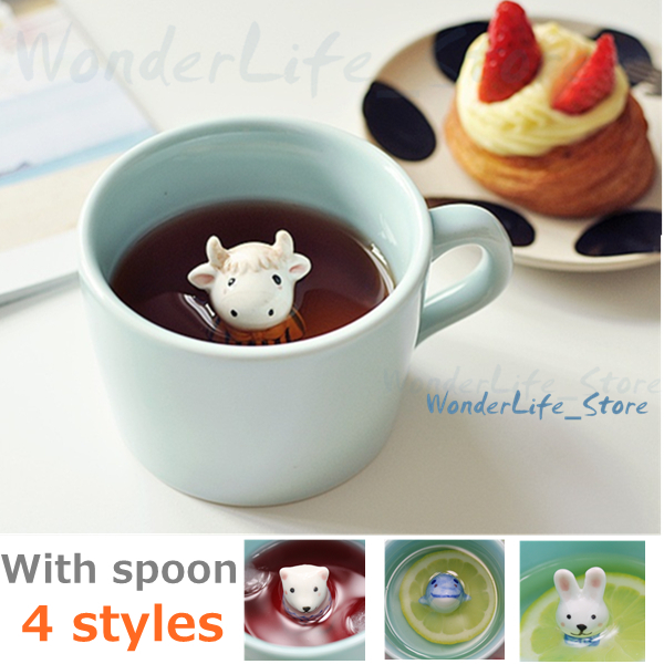 Japan ZAKKA style 3D Mug three-dimensional animal ceramic coffee cup Animals in the cup bottom With spoon novelty mug gift(China (Mainland))