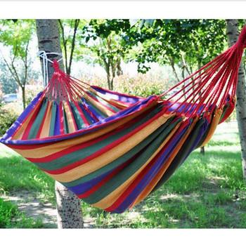 Одиночные гамаки на открытом воздухе для отдых на природе и туризм досуг ткань в полоску гамак расширить и утолщаются ZYD042