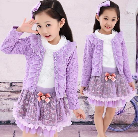 New Fashion Spring Autumn Long sleeve 3pcs(coat +T-shirt+dress ) Floral Princess girl dress set<br><br>Aliexpress