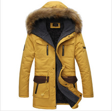 2015 New Arrival Fashion Men's Parka Revestimentos Hooded Fur Long Chaqueta Invierno Hombre Thick Mens Winter Jackets And Coats