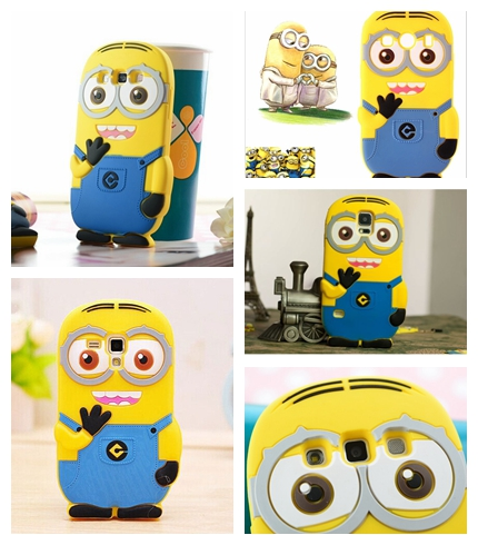 3D Minions Soft Silicone Case Cover For Samsung Galaxy S Duos Trend Plus S7562 Win i8552 Alpha G850 S3 S4 S5 S6 Edge Gel Cases(China (Mainland))