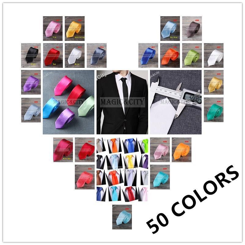 1 piece pcs Fashion Leisure Slim Narrow Arrow Necktie Skinny Solid color Satin 5cm Black Red Blue Tie for men Free Shipping(China (Mainland))