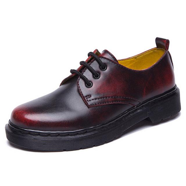 Новинка британский стиль оксфорд мартин обувь для мужчин и для женщин квартиры высокое ...
