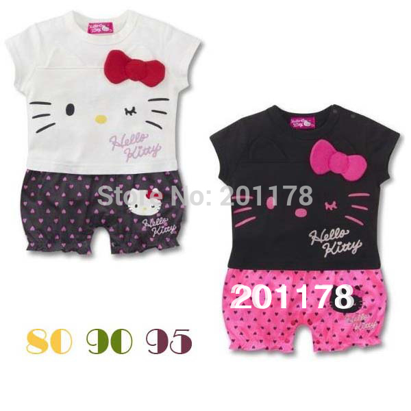250# fashion design hello kitty jumpsuits rushed carters baby girls romper wholesale 3pcs/lot(China (Mainland))