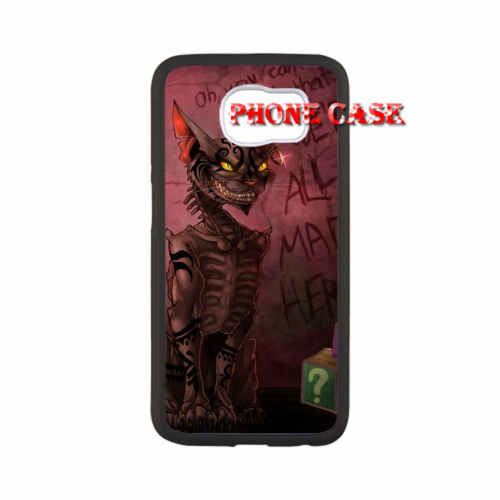 We're All Mad Here Cheshire Cat For iPhone SE 5s 6s plus 5 Pouches Samsung Galaxy S3 S4 Mini s6 s7 edge A3 A5 A7 E5 E7 Capa(China (Mainland))